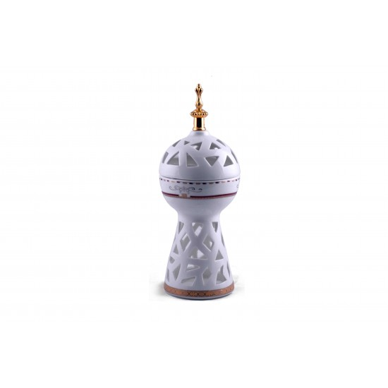 Hollow White Ceramic Incense Oil Burner for home decoration- Aroma Burner with golden metallic handle- Charcoal Bakhoor Burner