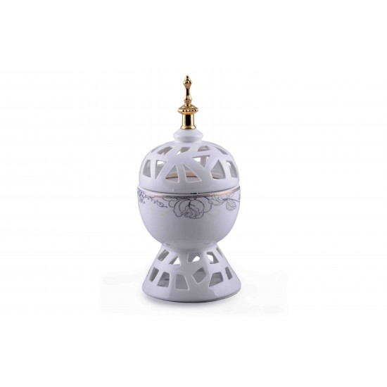 HOLLOW WHITE CERAMIC INCENSE OIL BURNER FOR HOME DECORATION - Ceramic Incense Burner S