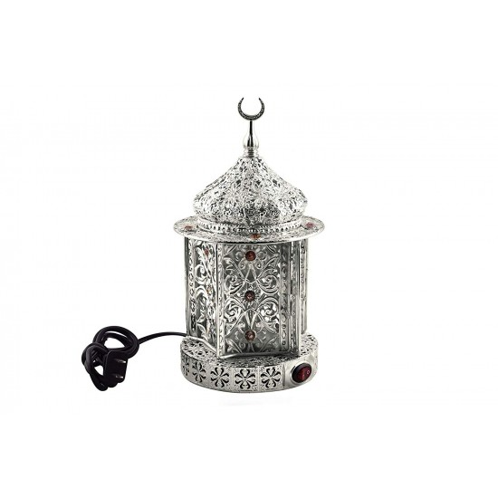 Lantern Shape Electric Incense Burner- Gold Plated Metal With Color Stones- Gift/ Home Decorative
