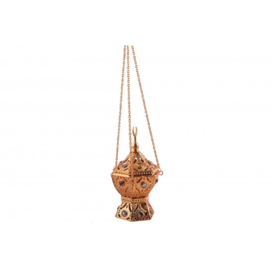 Vintage Arabic Censer Incense Burner Gold with Color Stones Hanging with Chain Censer