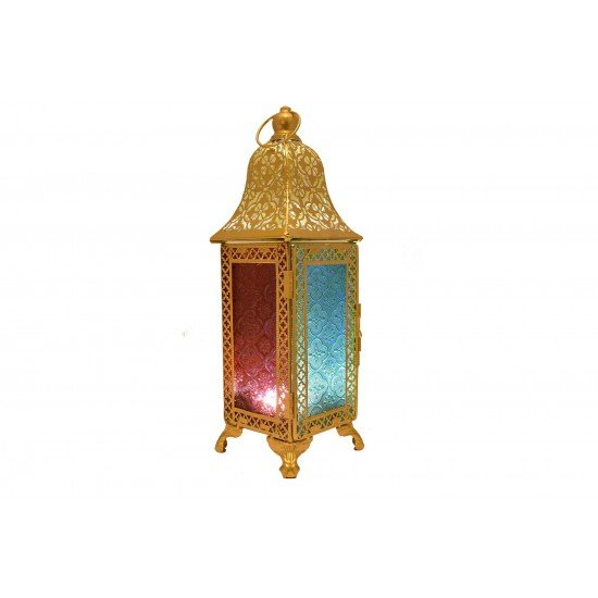 Moroccan Style Metal Color Glass Lantern