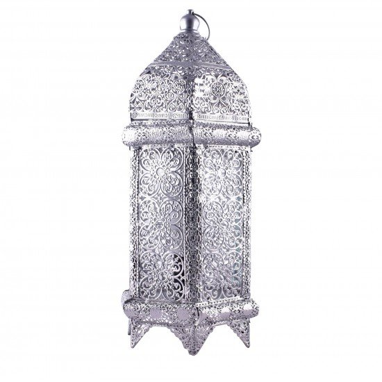 Silver Metal Hollow Electric Lantern Home Decoration