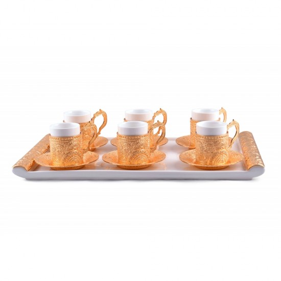 Luxurious Gold Plated Porcelain Coffee Set