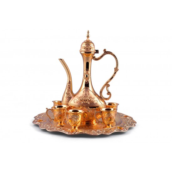 Luxury Turkish Coffee Set for 6 including serving tray and coffee pot- Gold with crystals