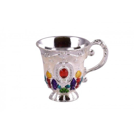 Vintage Turkish Coffee Pot Set (White with colored drawing)
