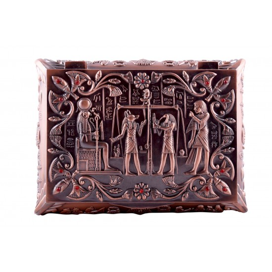 Jewelry/ Trinket Box Falcon God Horus Red Copper Rhinestones - Ancient Egyptian Artifact