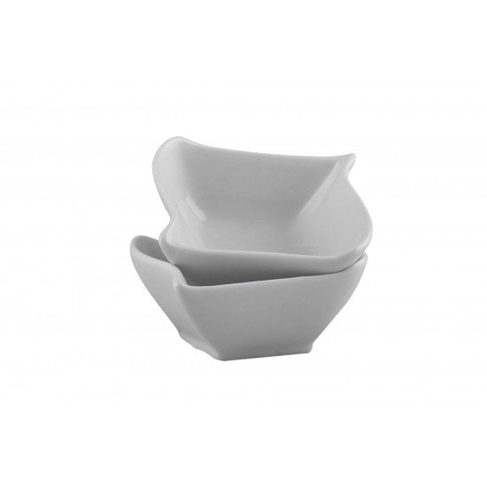 Porcelain Cereal/ Soup/ Salad/ Dessert Bowl Set of 6, Square wave shape, White