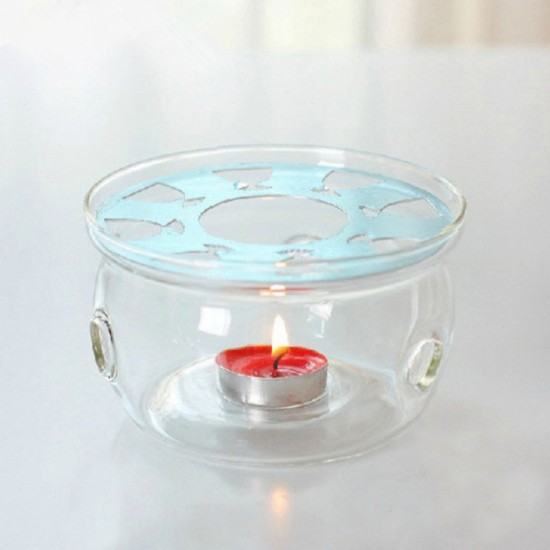 Round Clear Glass Heat-Resisting Teapot Warmer Insulation Base Candle Holder Tea Warmer Candle Heating Base Coffee Water Scented