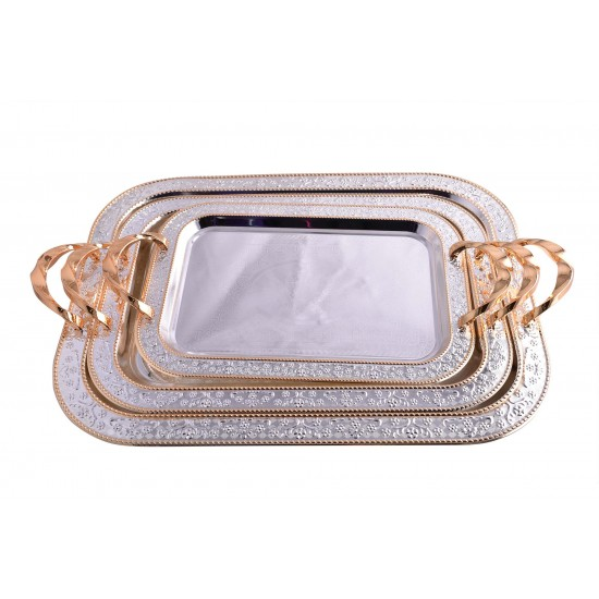 Elegant Rectangular Silver Stainless Steel Serving Tray with Gold Handles - Set of III