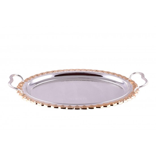 Beautiful Round Silver Decorative Tea & Coffee Serving Tray Set of 2