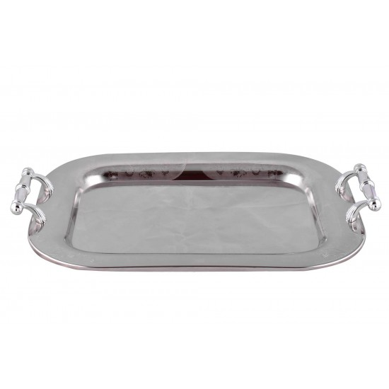 Elegant Pattern Silver Plated Stainless Steel Serving Tray set of 2 Pcs Rectangular Plate