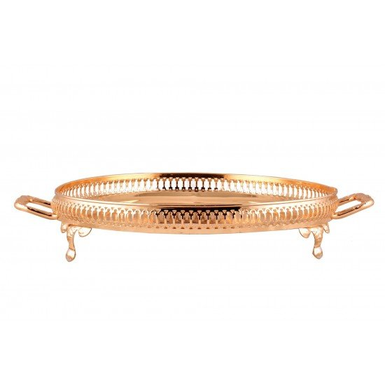 Gold Plated Round 14'' Tray Vintage Top Serving Tray with Legs