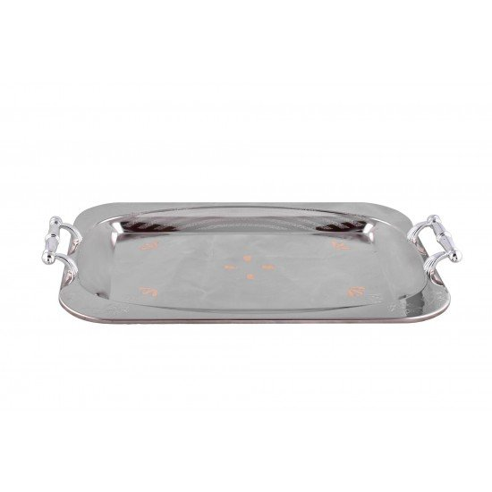 Rectangle Silver Plated Stainless Steel Serving Tray Tableware Storage Tray