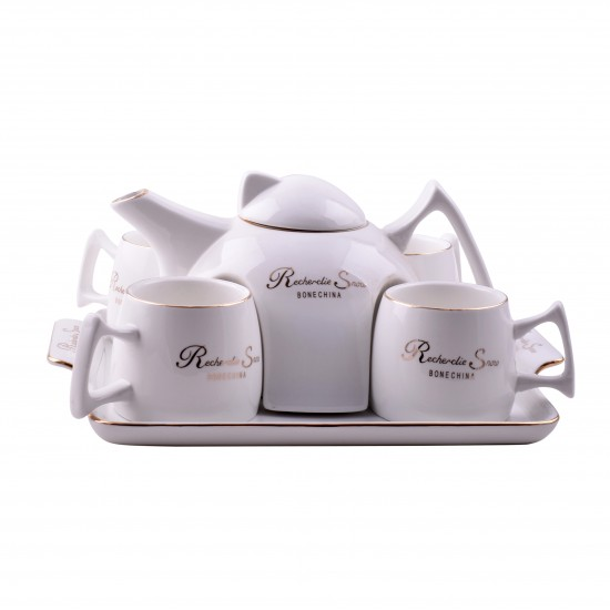 Modern Ceramic Art Teapot Set of 6 With Tray