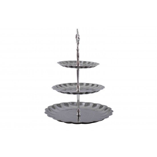 3-Tiered Stainless Steel Cake Stand Fruits Desserts Plate Stand Circle Round Display Silver