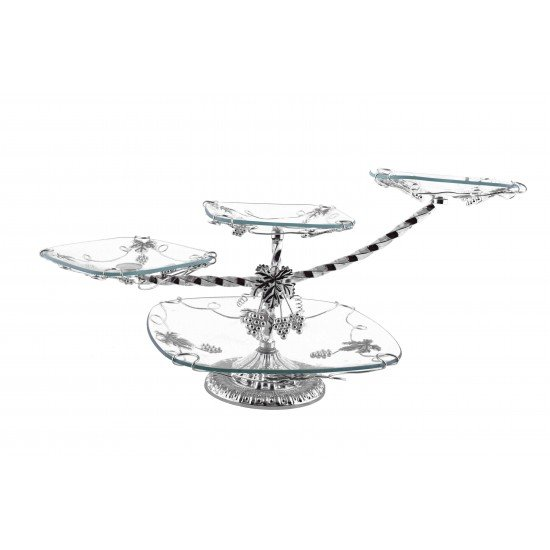 4 Tier Crystal Glass Serving Platter - Silver- Perfect for Cakes, Desserts and Appetizers Home Decoration