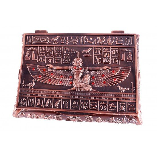 Goddess Isis Red Copper Rhinestones Jewelry/ Trinket Box