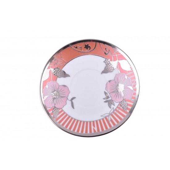 Coffee/ Tea Set of 12 pcs Cup and Saucer - Rose & Orange Flower Design- Silver Rim