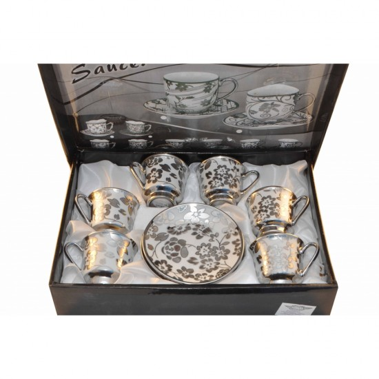 Floral Silver Design 12 pcs Coffee or Tea Set- 6 Premium Porcelain Cups w Saucers