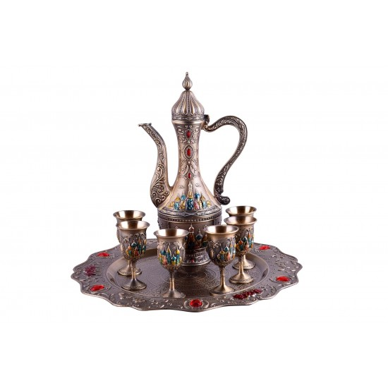 Eight-Piece Russian Retro Palace Style Wine Set/ Coffee Set Goblet Spirit Pot With Tray