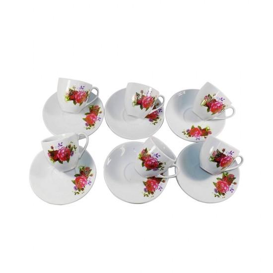 Flower Design 12 pcs Coffee or Tea Set- 6 Premium Porcelain Cups w Saucers