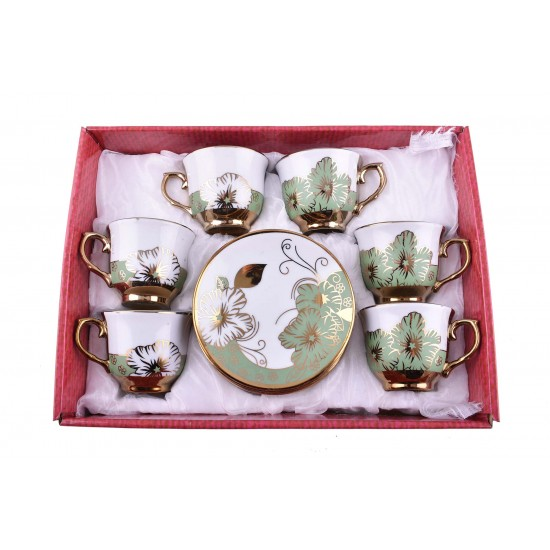Gold Rim Green Flower Design Coffee/ Tea Set- 12 pcs