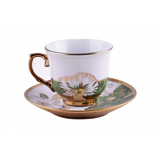 Gold Rim Green Flower Design Coffee/ Tea Set- 12 pcs
