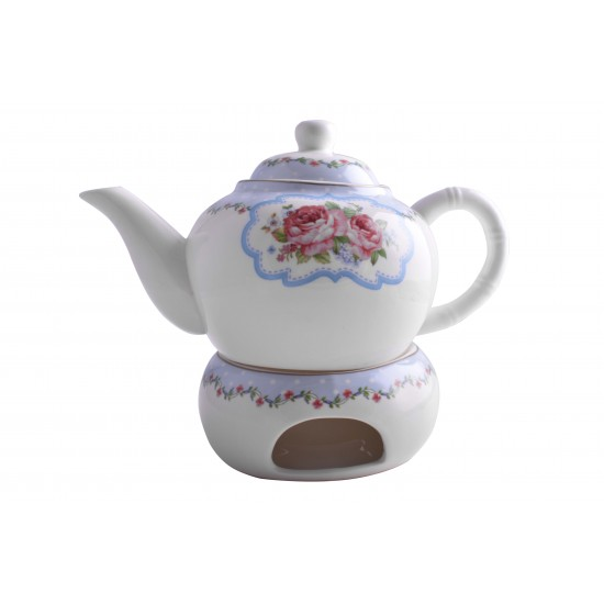 Pink Rose Decorative Porcelain Teapot With Warmer