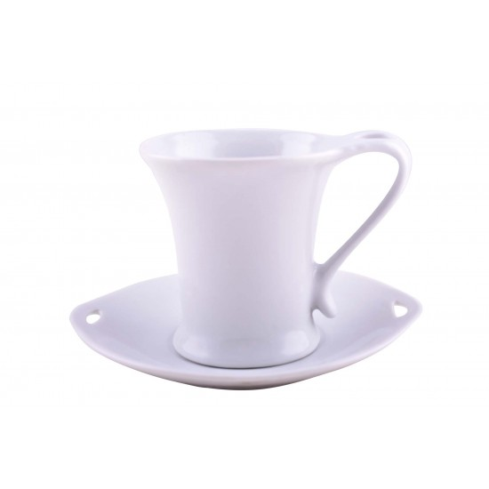Plain White Ceramic Mug Coffee Cup And Saucer Set Of 12 Pieces