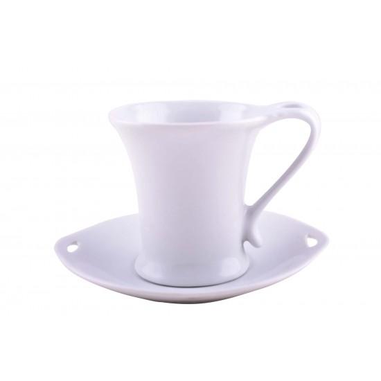 Plain White Ceramic Mug/ Coffee Cup and Saucer- Set of 12 Pieces