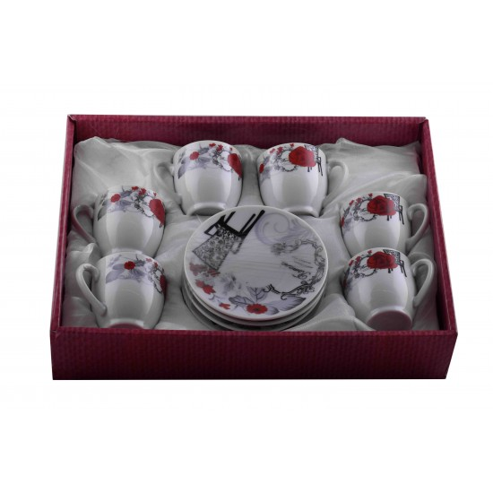 Romantic Red Rose Design Coffee/ Tea Set of 12