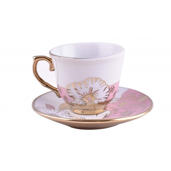 Rose Design Coffee/ Tea Set- Gold rim- 12 pcs