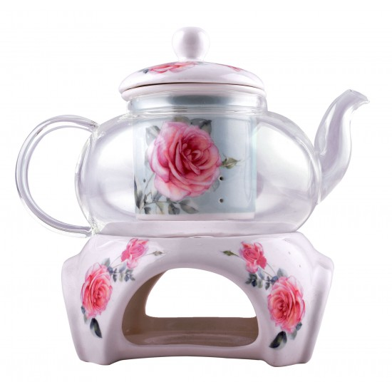 Rose Floral Design Glass Teapot With Infuser and Tea Warmer