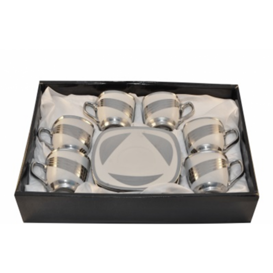 Silver Metallic Design 12 pcs Coffee or Tea Set- 6 Premium Porcelain Cups w Saucers