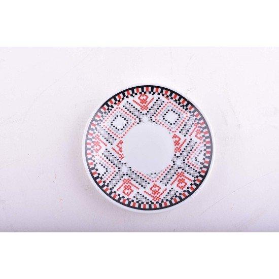 Tea Set of 12 -Vintage Pattern Style - 6 Premium Porcelain Cups w Saucers