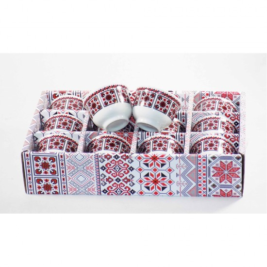 Turkish Arabic Coffee cups (Cawa) Set of 12- Arabesque Pattern Design- Gift Box