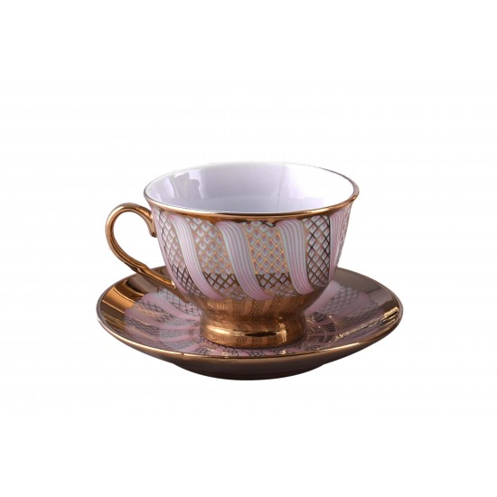 Vintage Gold Plated Pink Ceramic Coffee/Tea Cups and Saucer Set With Metal Stand