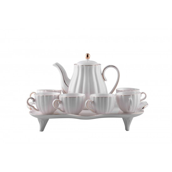 Luxury White Porcelain Gold Rim Coffee/ Tea set of 8 Pcs with Pot and Serving Tray + 70% discount on HEART SHAPED GOLD RIM TEA/ COFFEE SET