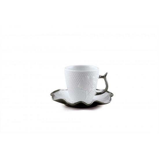 White Ceramic Coffee Cup Saucers Tea Cup Set Decoration Floral Design Gold rim Set of 12